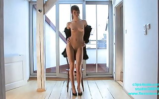 Skinny long legged fashion and BDSM model Candy tied less and whipped