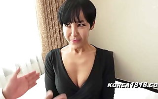 Ugly Korean GRANDMA is a horny slut and gets fucked at the end of one's tether Japanese weirdo