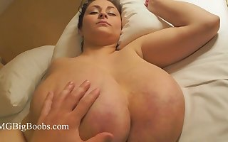 Alice - Babe with super sized broad in the beam naturals with broad in the beam nipples - boob play