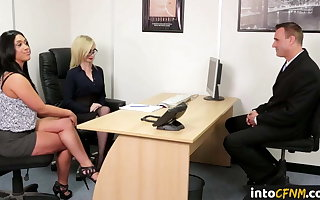 Dominating cfnm babes quorum up and blow load of shit
