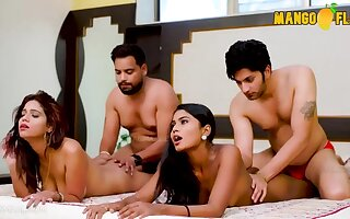 Indian swingers - amateur foursome porn with exotic brunette babes