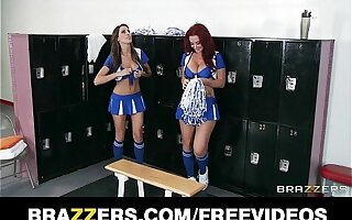 Two HOT lesbian cheerleaders start an orgy in the alcove room